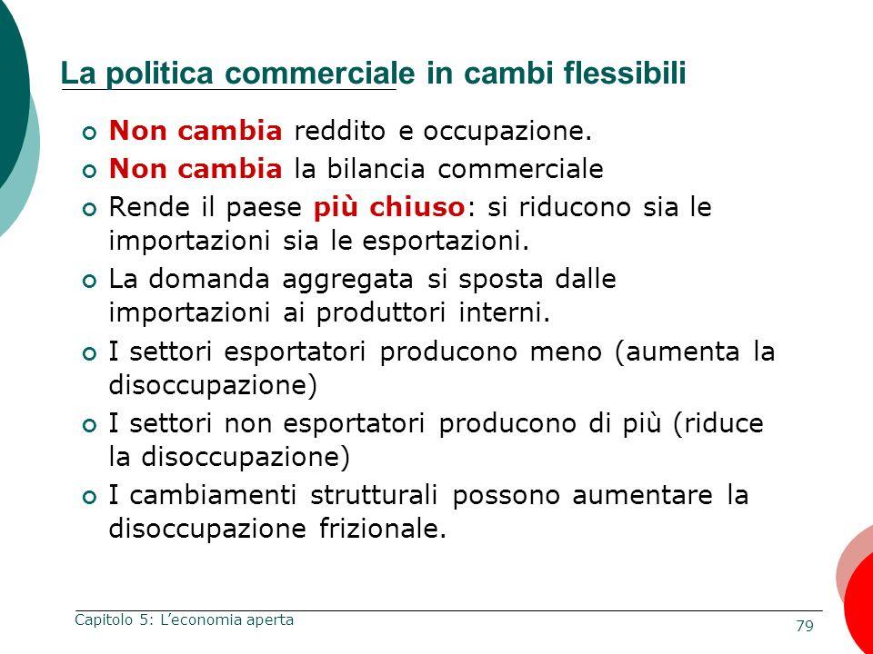 79 Capitolo 5: Leconomia aperta La politica commerciale in cambi flessibili Non cambia reddito e occupazione. Non cambia la bilancia commerciale Rende
