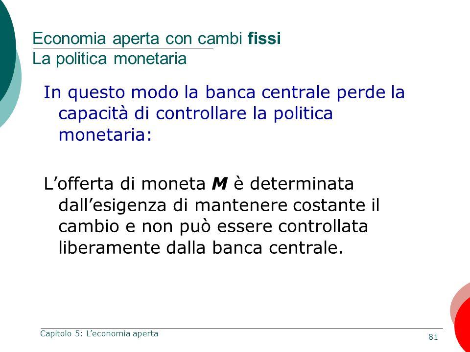 81 Capitolo 5: Leconomia aperta Economia aperta con cambi fissi La politica monetaria In questo modo la banca centrale perde la capacità di controllar