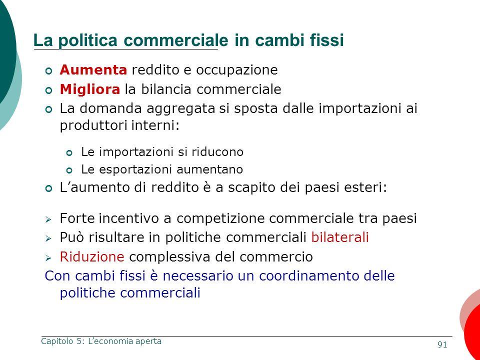 91 Capitolo 5: Leconomia aperta La politica commerciale in cambi fissi Aumenta reddito e occupazione Migliora la bilancia commerciale La domanda aggre