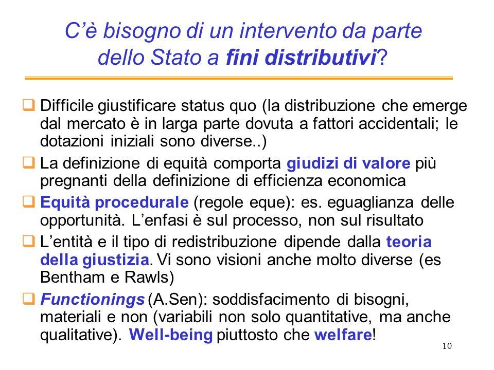 10 Cè bisogno di un intervento da parte dello Stato a fini distributivi? Difficile giustificare status quo (la distribuzione che emerge dal mercato è