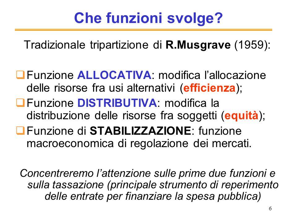 6 Che funzioni svolge? Tradizionale tripartizione di R.Musgrave (1959): Funzione ALLOCATIVA: modifica lallocazione delle risorse fra usi alternativi (