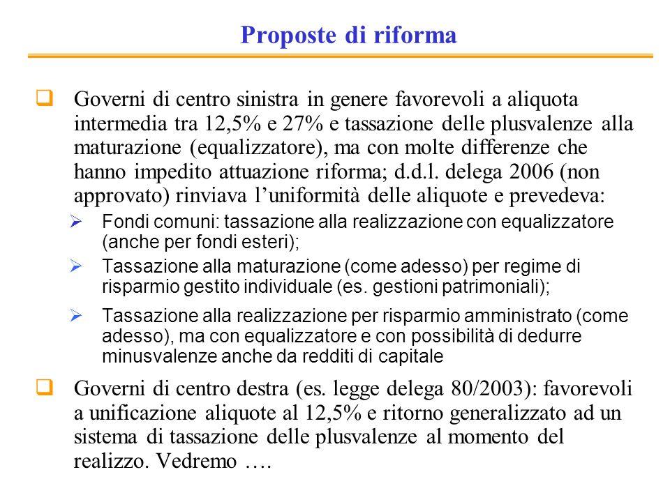 Proposte di riforma Governi di centro sinistra in genere favorevoli a aliquota intermedia tra 12,5% e 27% e tassazione delle plusvalenze alla maturazione (equalizzatore), ma con molte differenze che hanno impedito attuazione riforma; d.d.l.