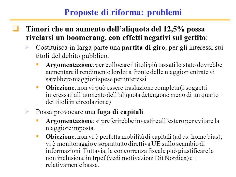 Proposte di riforma: problemi Timori che un aumento dellaliquota del 12,5% possa rivelarsi un boomerang, con effetti negativi sul gettito: Costituisca in larga parte una partita di giro, per gli interessi sui titoli del debito pubblico.