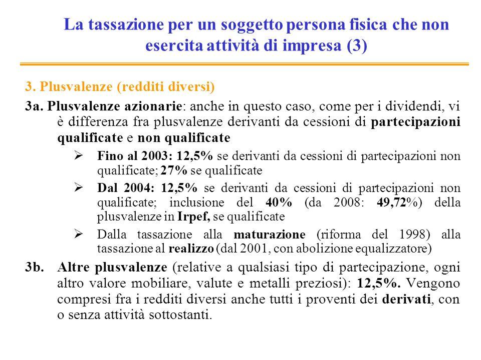 Tassazione delle plusvalenze (CG): aspetti problematici (1) Alcuni CG sono imputabili a variazioni nel livello dei prezzi: andrebbero tassate solo le plusvalenze reali (difficilmente si corregge per linflazione).
