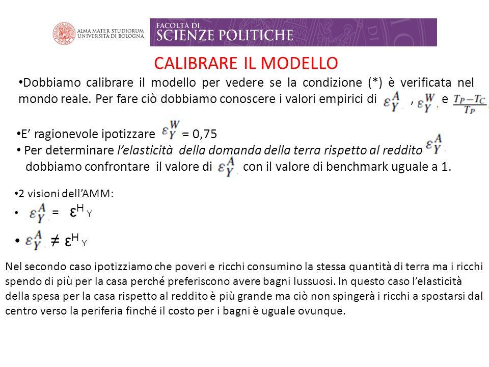 CALIBRARE IL MODELLO Dobbiamo calibrare il modello per vedere se la condizione (*) è verificata nel mondo reale.