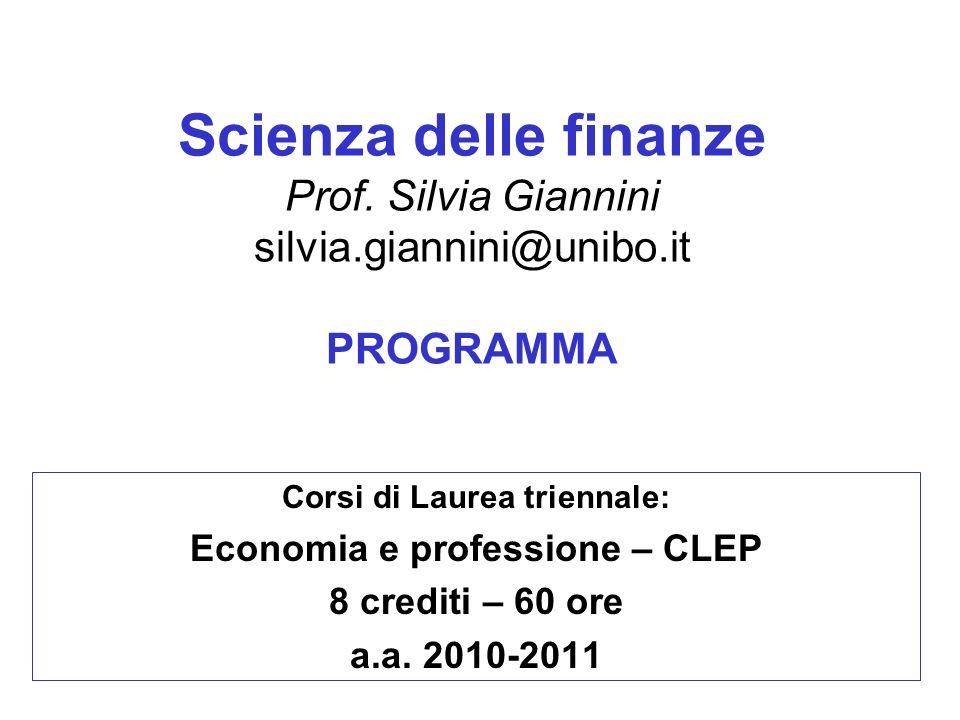 Scienza delle finanze Prof.