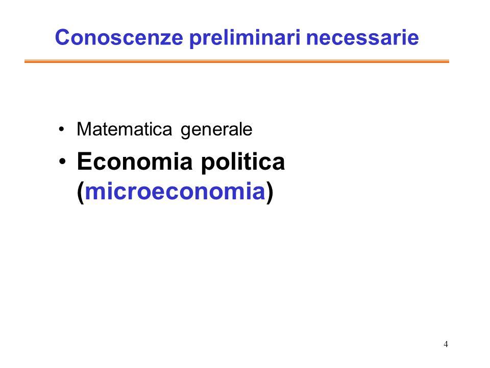 4 Conoscenze preliminari necessarie Matematica generale Economia politica (microeconomia)