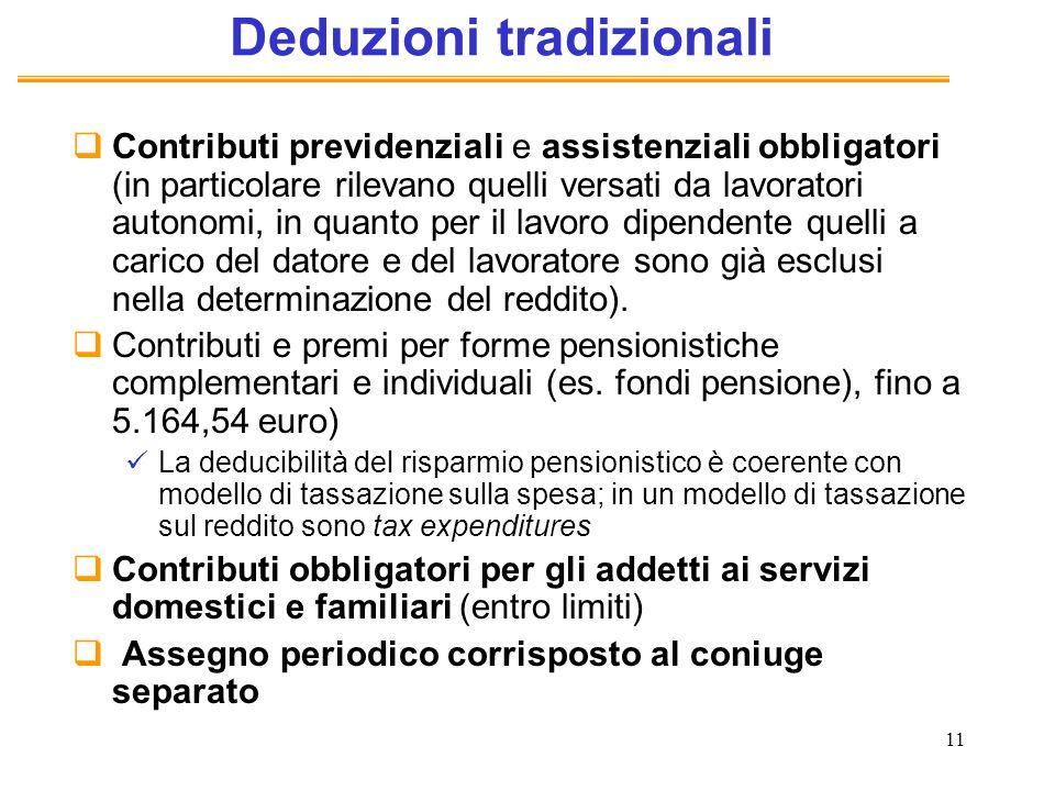 11 Deduzioni tradizionali Contributi previdenziali e assistenziali obbligatori (in particolare rilevano quelli versati da lavoratori autonomi, in quan