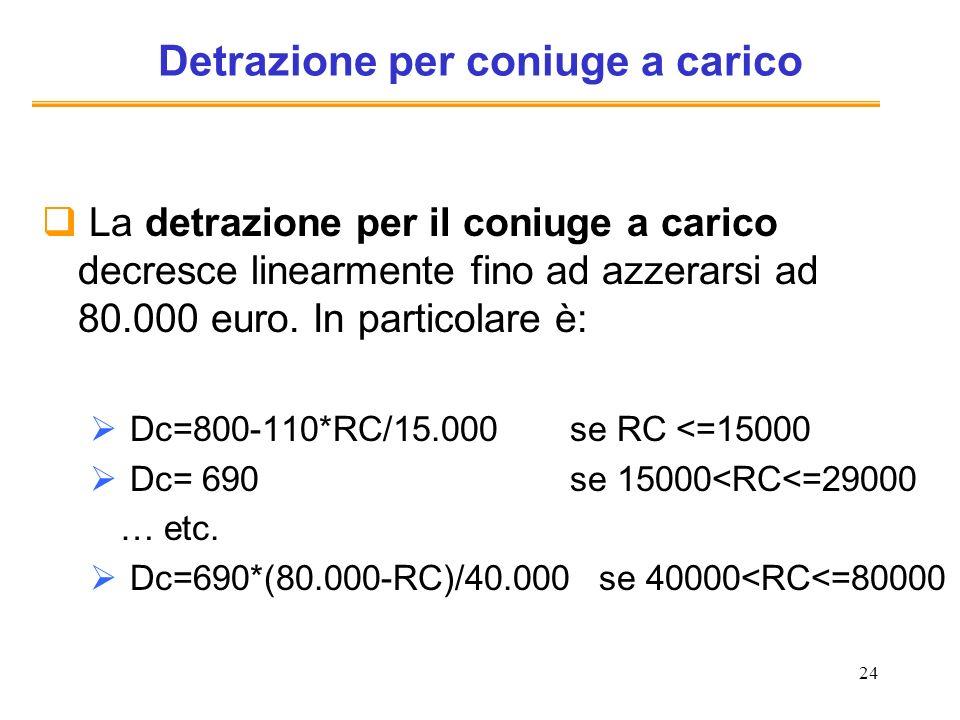 24 Detrazione per coniuge a carico La detrazione per il coniuge a carico decresce linearmente fino ad azzerarsi ad 80.000 euro. In particolare è: Dc=8