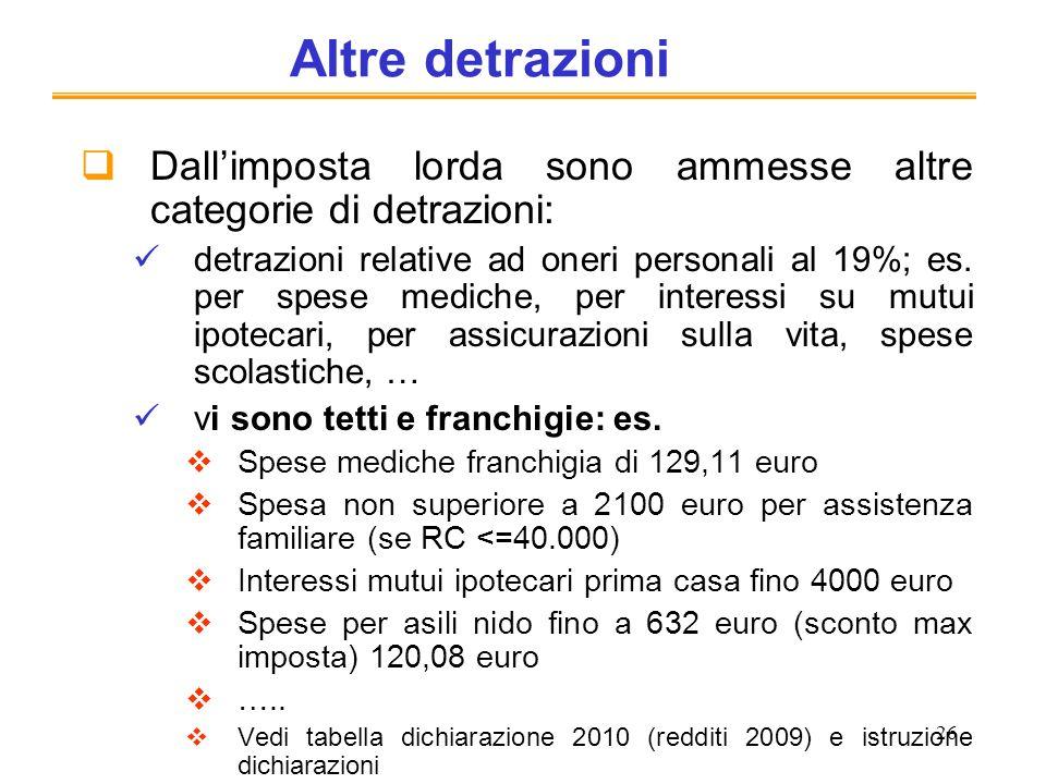 26 Altre detrazioni Dallimposta lorda sono ammesse altre categorie di detrazioni: detrazioni relative ad oneri personali al 19%; es. per spese mediche