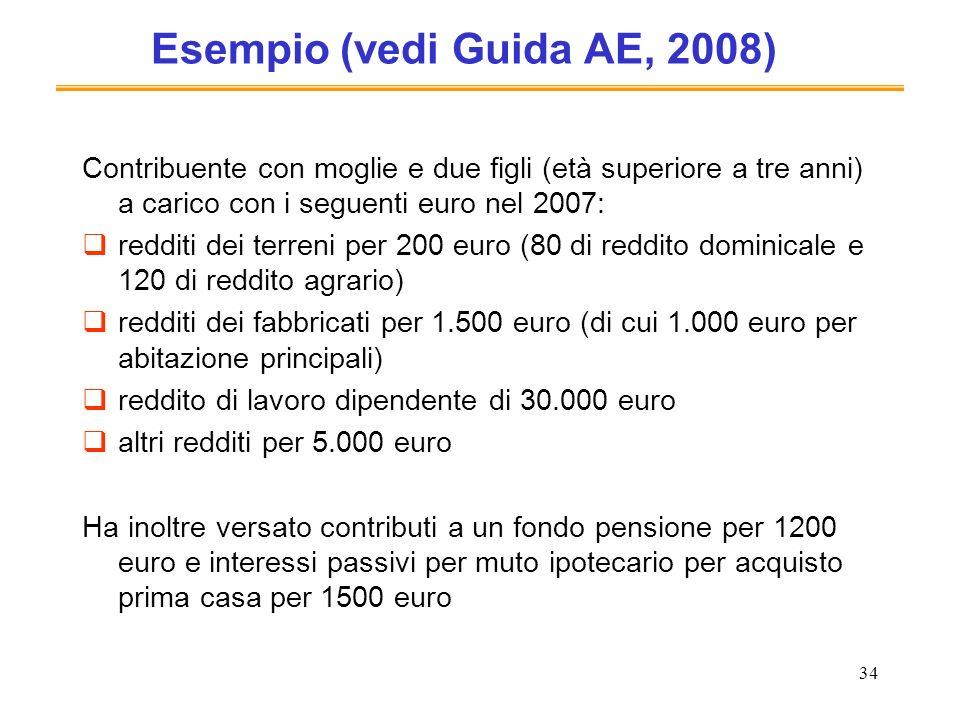 34 Esempio (vedi Guida AE, 2008) Contribuente con moglie e due figli (età superiore a tre anni) a carico con i seguenti euro nel 2007: redditi dei ter