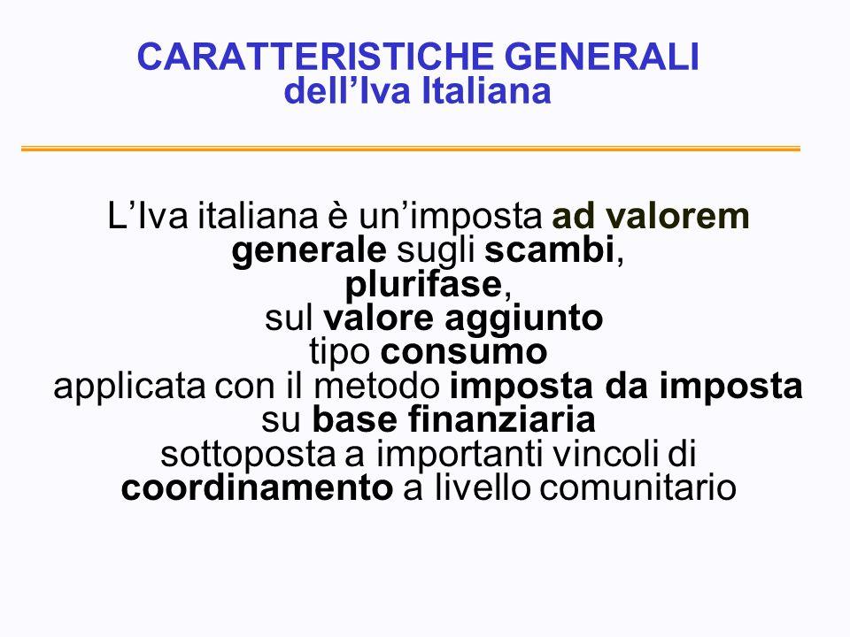 CARATTERISTICHE GENERALI dellIva Italiana LIva italiana è unimposta ad valorem generale sugli scambi, plurifase, sul valore aggiunto tipo consumo applicata con il metodo imposta da imposta su base finanziaria sottoposta a importanti vincoli di coordinamento a livello comunitario