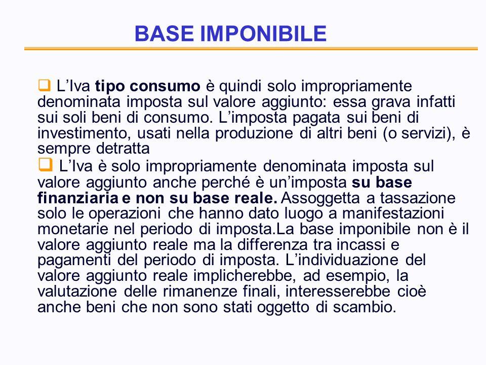 BASE IMPONIBILE LIva tipo consumo è quindi solo impropriamente denominata imposta sul valore aggiunto: essa grava infatti sui soli beni di consumo.