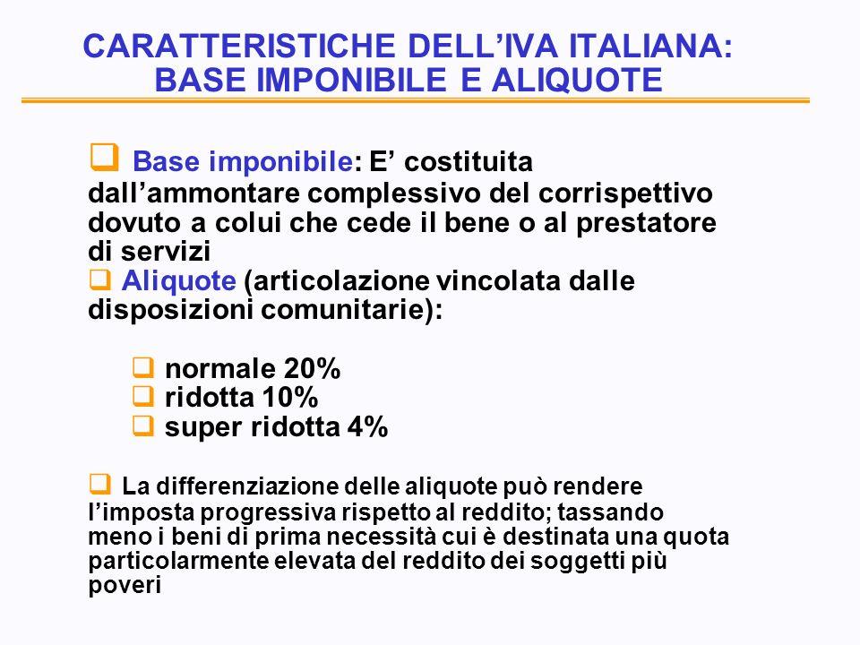 CARATTERISTICHE DELLIVA ITALIANA: BASE IMPONIBILE E ALIQUOTE Base imponibile: E costituita dallammontare complessivo del corrispettivo dovuto a colui che cede il bene o al prestatore di servizi Aliquote (articolazione vincolata dalle disposizioni comunitarie): normale 20% ridotta 10% super ridotta 4% La differenziazione delle aliquote può rendere limposta progressiva rispetto al reddito; tassando meno i beni di prima necessità cui è destinata una quota particolarmente elevata del reddito dei soggetti più poveri