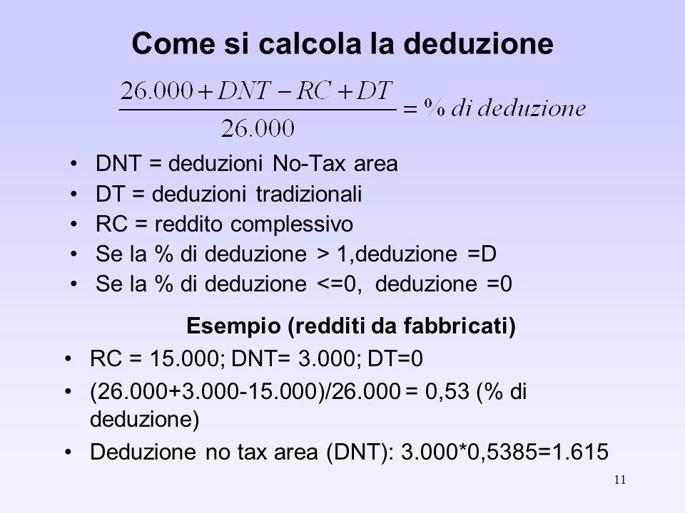 11 Come si calcola la deduzione DNT = deduzioni No-Tax area DT = deduzioni tradizionali RC = reddito complessivo Se la % di deduzione > 1,deduzione =D Se la % di deduzione <=0, deduzione =0 Esempio (redditi da fabbricati) RC = 15.000; DNT= 3.000; DT=0 (26.000+3.000-15.000)/26.000 = 0,53 (% di deduzione) Deduzione no tax area (DNT): 3.000*0,5385=1.615