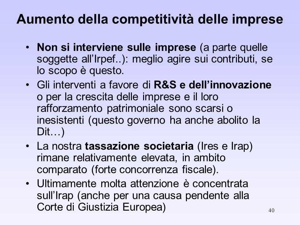 40 Aumento della competitività delle imprese Non si interviene sulle imprese (a parte quelle soggette allIrpef..): meglio agire sui contributi, se lo scopo è questo.