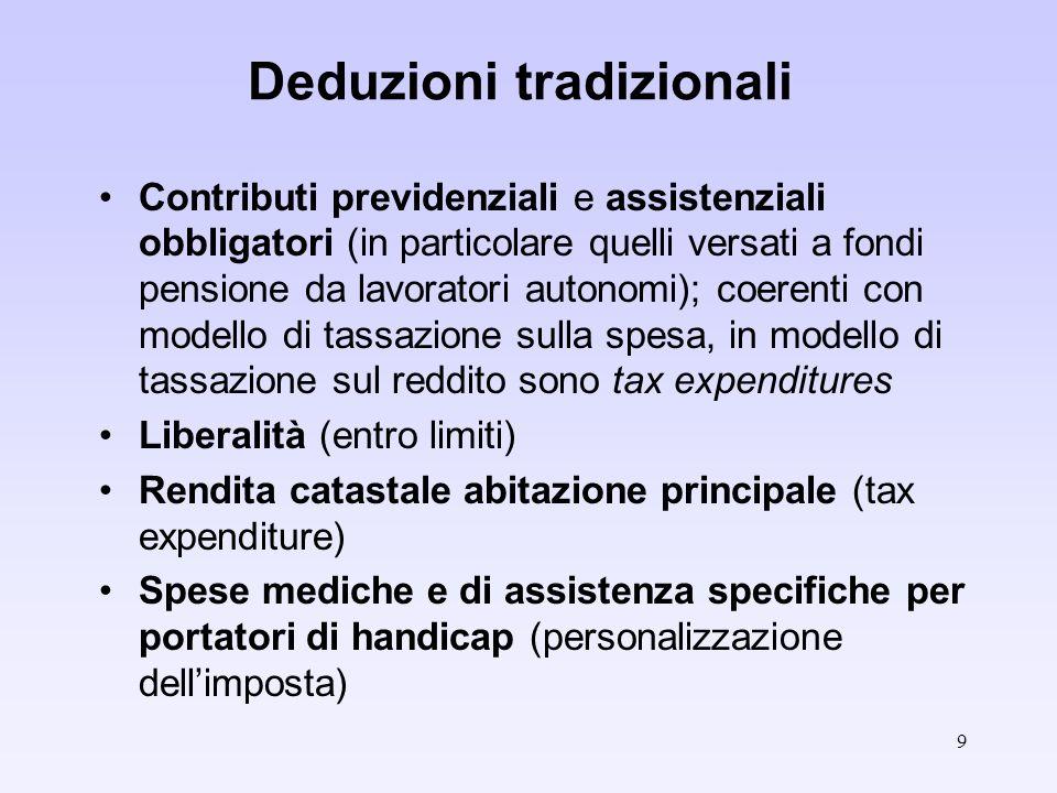 9 Deduzioni tradizionali Contributi previdenziali e assistenziali obbligatori (in particolare quelli versati a fondi pensione da lavoratori autonomi); coerenti con modello di tassazione sulla spesa, in modello di tassazione sul reddito sono tax expenditures Liberalità (entro limiti) Rendita catastale abitazione principale (tax expenditure) Spese mediche e di assistenza specifiche per portatori di handicap (personalizzazione dellimposta)