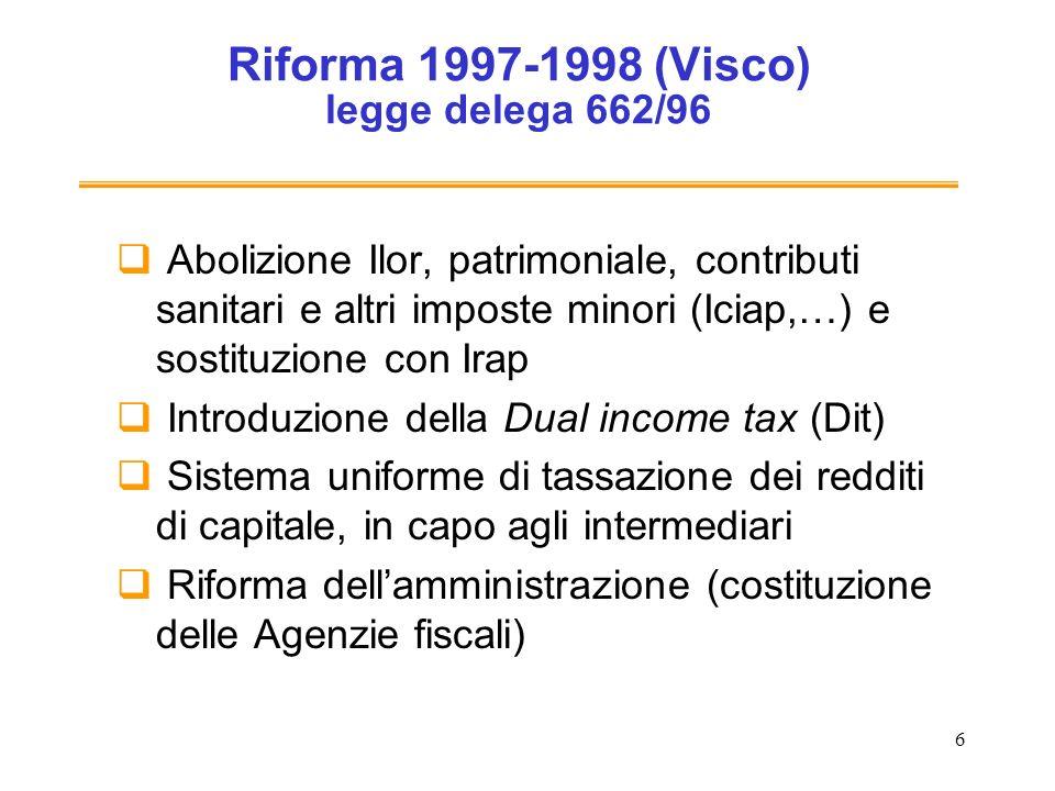 6 Riforma 1997-1998 (Visco) legge delega 662/96 Abolizione Ilor, patrimoniale, contributi sanitari e altri imposte minori (Iciap,…) e sostituzione con Irap Introduzione della Dual income tax (Dit) Sistema uniforme di tassazione dei redditi di capitale, in capo agli intermediari Riforma dellamministrazione (costituzione delle Agenzie fiscali)