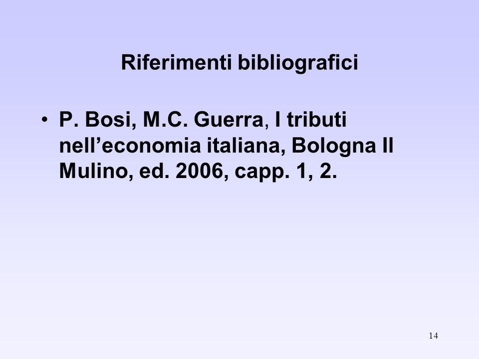 14 Riferimenti bibliografici P. Bosi, M.C.