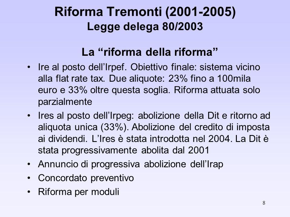 8 Riforma Tremonti (2001-2005) Legge delega 80/2003 La riforma della riforma Ire al posto dellIrpef.