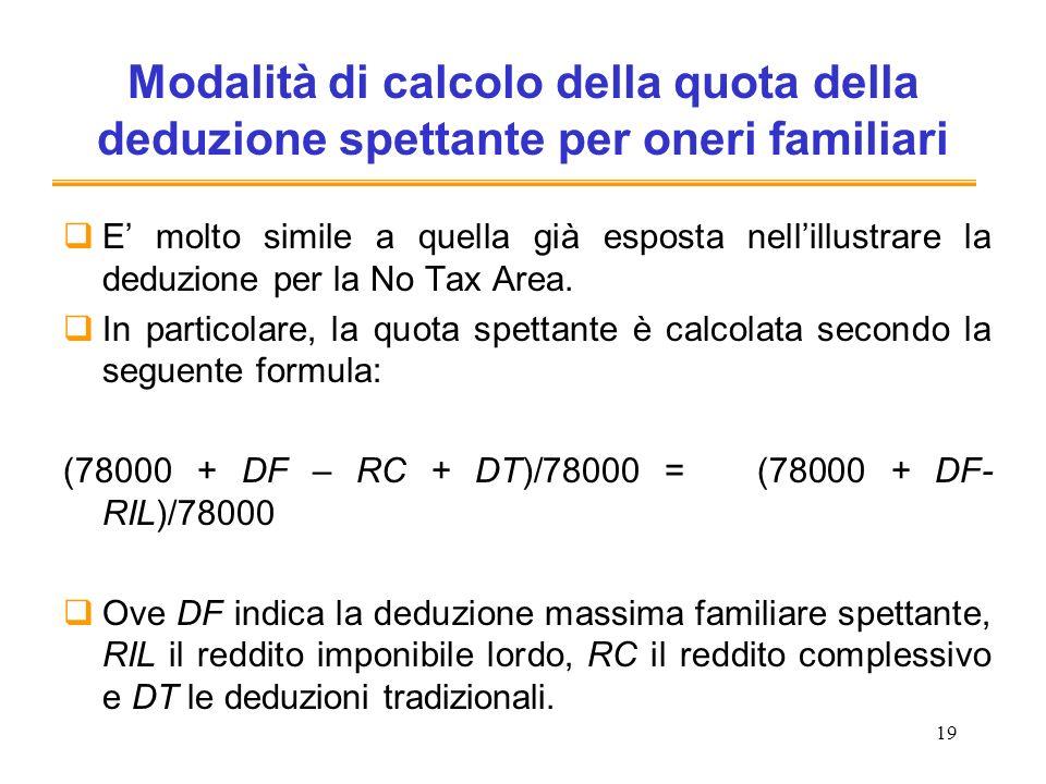 19 Modalità di calcolo della quota della deduzione spettante per oneri familiari E molto simile a quella già esposta nellillustrare la deduzione per l