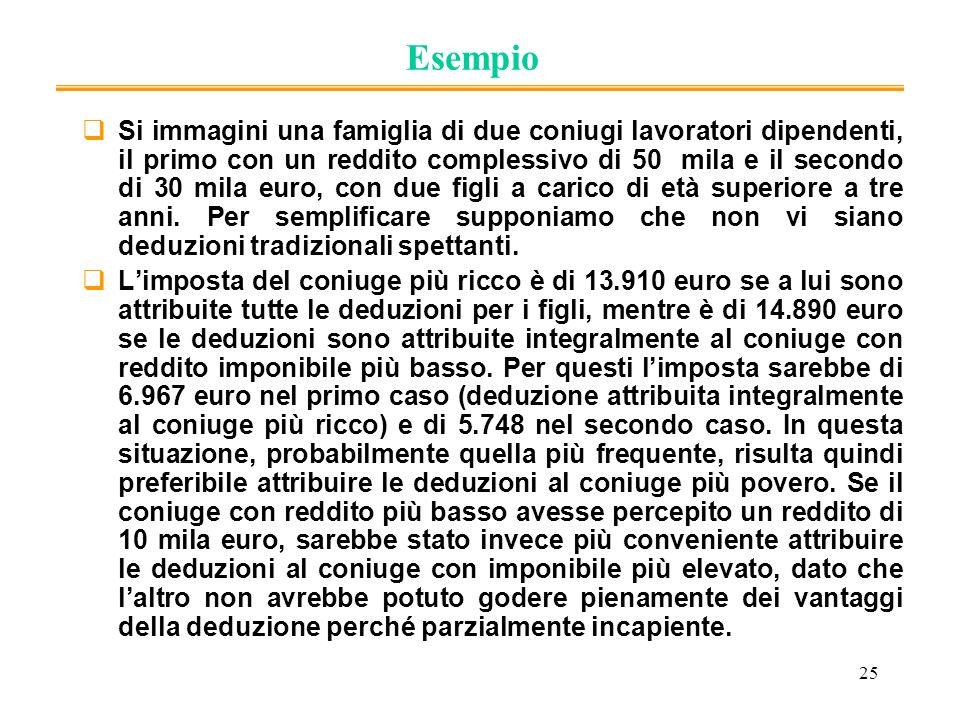 25 Esempio Si immagini una famiglia di due coniugi lavoratori dipendenti, il primo con un reddito complessivo di 50 mila e il secondo di 30 mila euro,