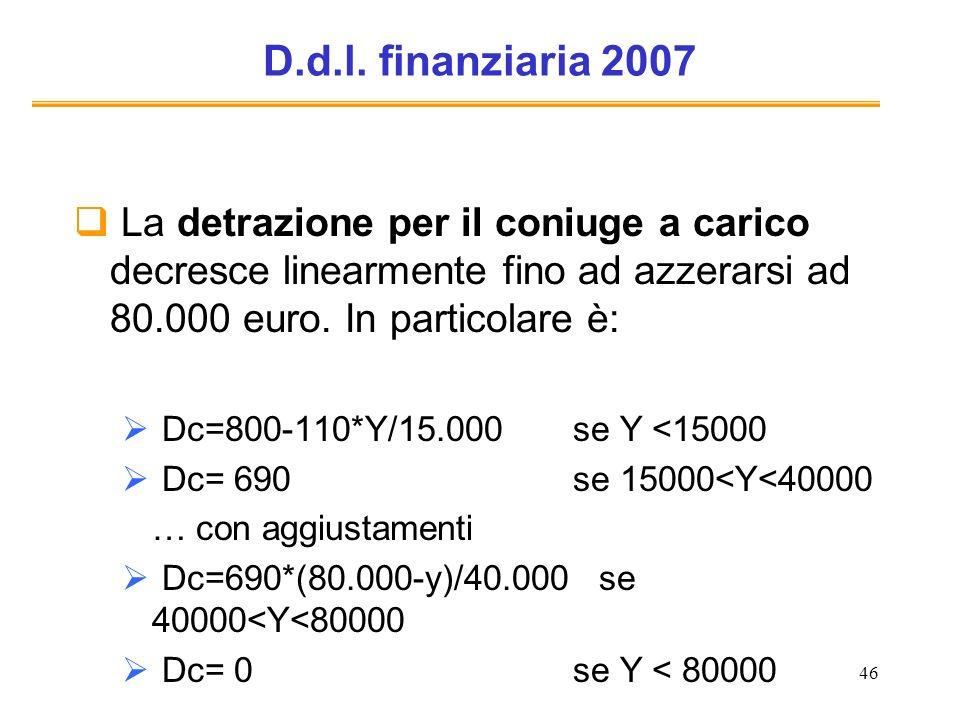 46 D.d.l. finanziaria 2007 La detrazione per il coniuge a carico decresce linearmente fino ad azzerarsi ad 80.000 euro. In particolare è: Dc=800-110*Y