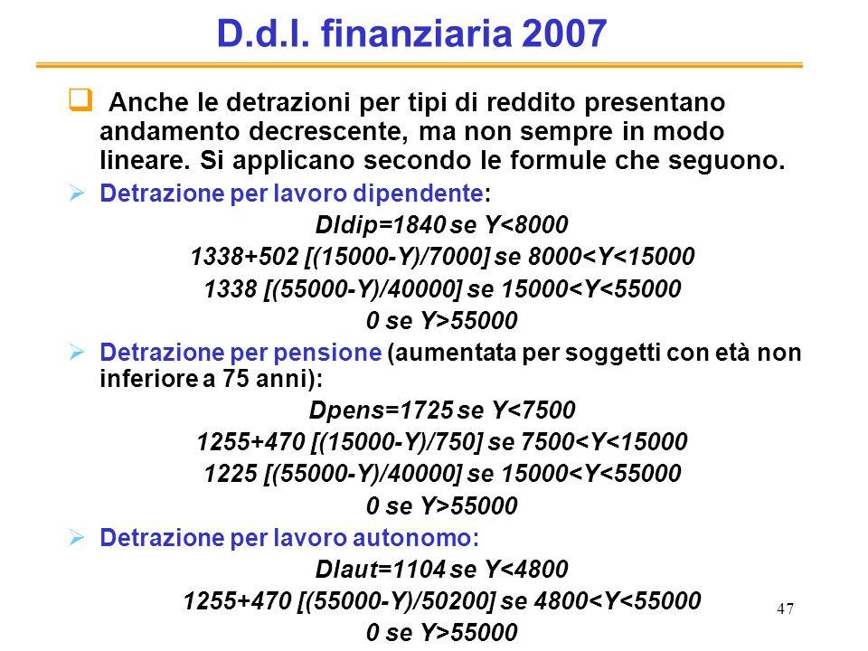 47 D.d.l. finanziaria 2007 Anche le detrazioni per tipi di reddito presentano andamento decrescente, ma non sempre in modo lineare. Si applicano secon