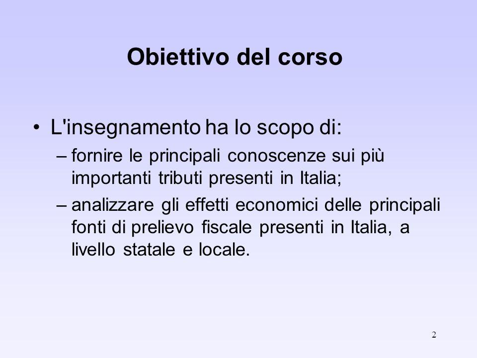 2 Obiettivo del corso L'insegnamento ha lo scopo di: –fornire le principali conoscenze sui più importanti tributi presenti in Italia; –analizzare gli