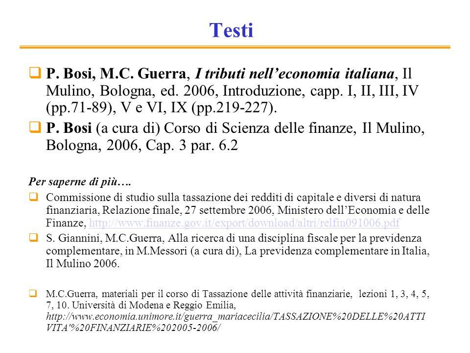 Testi P. Bosi, M.C. Guerra, I tributi nelleconomia italiana, Il Mulino, Bologna, ed.
