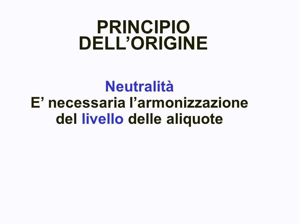 Neutralità E necessaria larmonizzazione del livello delle aliquote PRINCIPIO DELLORIGINE