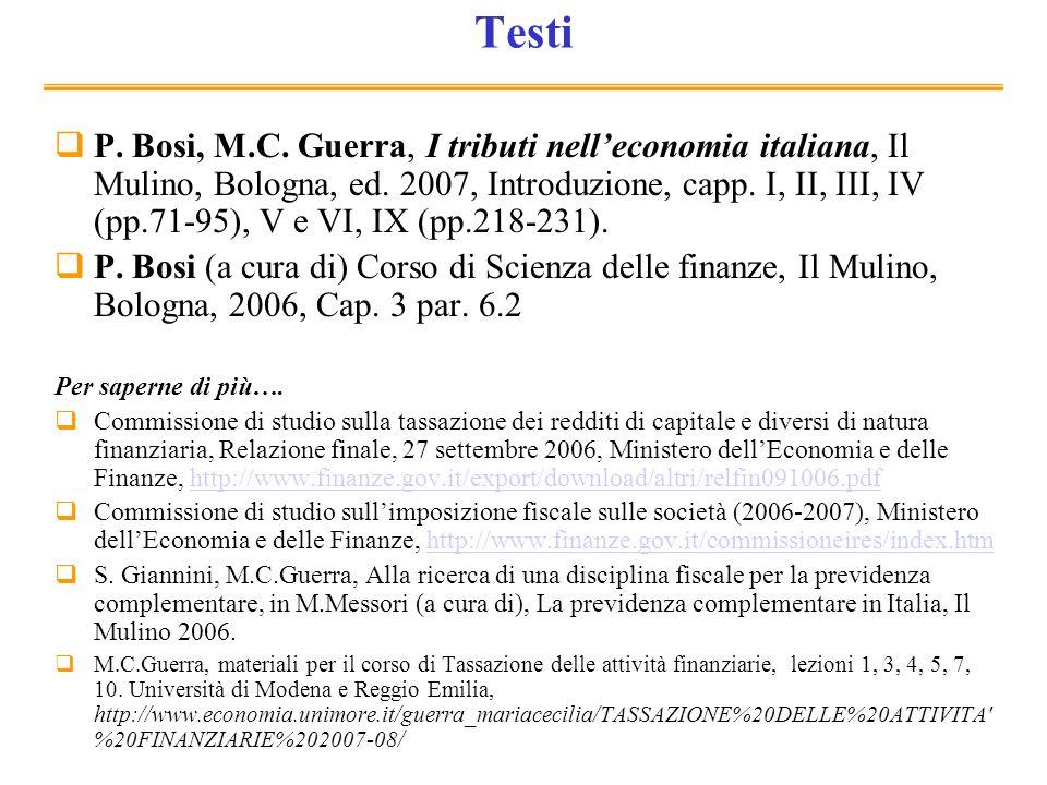 Testi P. Bosi, M.C. Guerra, I tributi nelleconomia italiana, Il Mulino, Bologna, ed. 2007, Introduzione, capp. I, II, III, IV (pp.71-95), V e VI, IX (