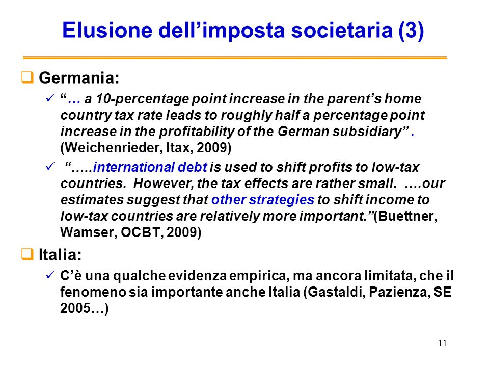 11 Elusione dellimposta societaria (3) Germania: … a 10-percentage point increase in the parents home country tax rate leads to roughly half a percent