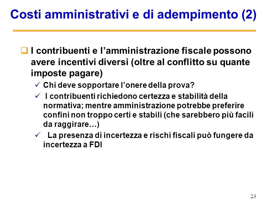 23 Costi amministrativi e di adempimento (2) I contribuenti e lamministrazione fiscale possono avere incentivi diversi (oltre al conflitto su quante i