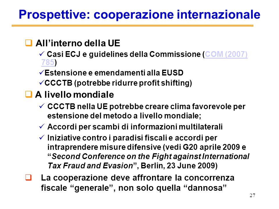 27 Prospettive: cooperazione internazionale Allinterno della UE Casi ECJ e guidelines della Commissione (COM (2007) 785)COM (2007) 785 Estensione e em