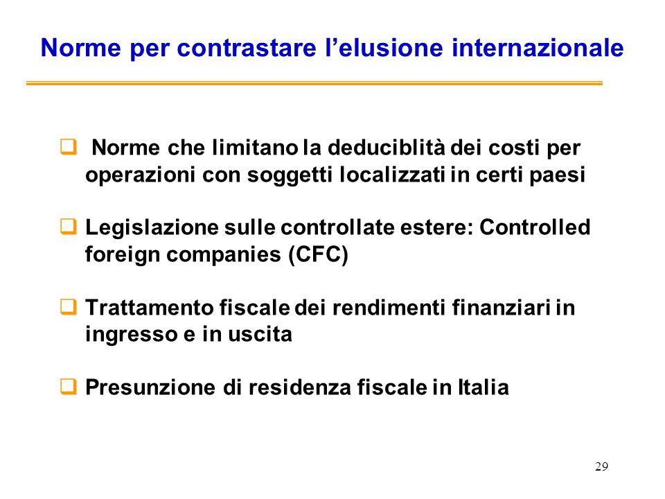 29 Norme per contrastare lelusione internazionale Norme che limitano la deduciblità dei costi per operazioni con soggetti localizzati in certi paesi L