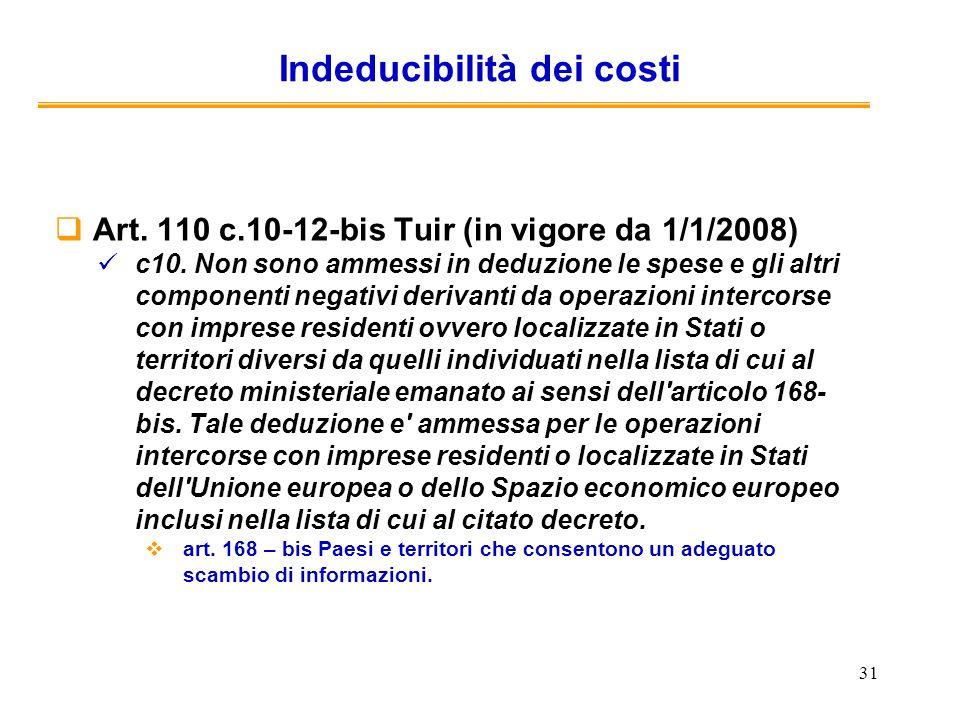 31 Indeducibilità dei costi Art. 110 c.10-12-bis Tuir (in vigore da 1/1/2008) c10. Non sono ammessi in deduzione le spese e gli altri componenti negat