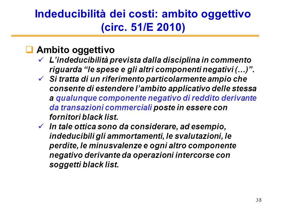 38 Indeducibilità dei costi: ambito oggettivo (circ. 51/E 2010) Ambito oggettivo Lindeducibilità prevista dalla disciplina in commento riguarda le spe