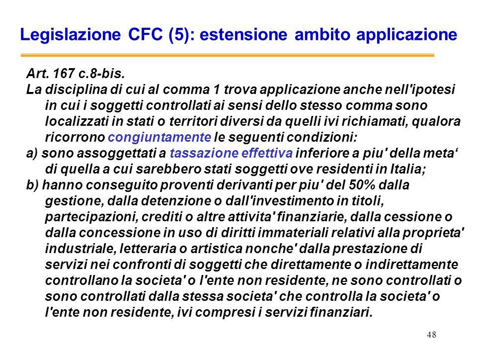 48 Legislazione CFC (5): estensione ambito applicazione Art. 167 c.8-bis. La disciplina di cui al comma 1 trova applicazione anche nell'ipotesi in cui