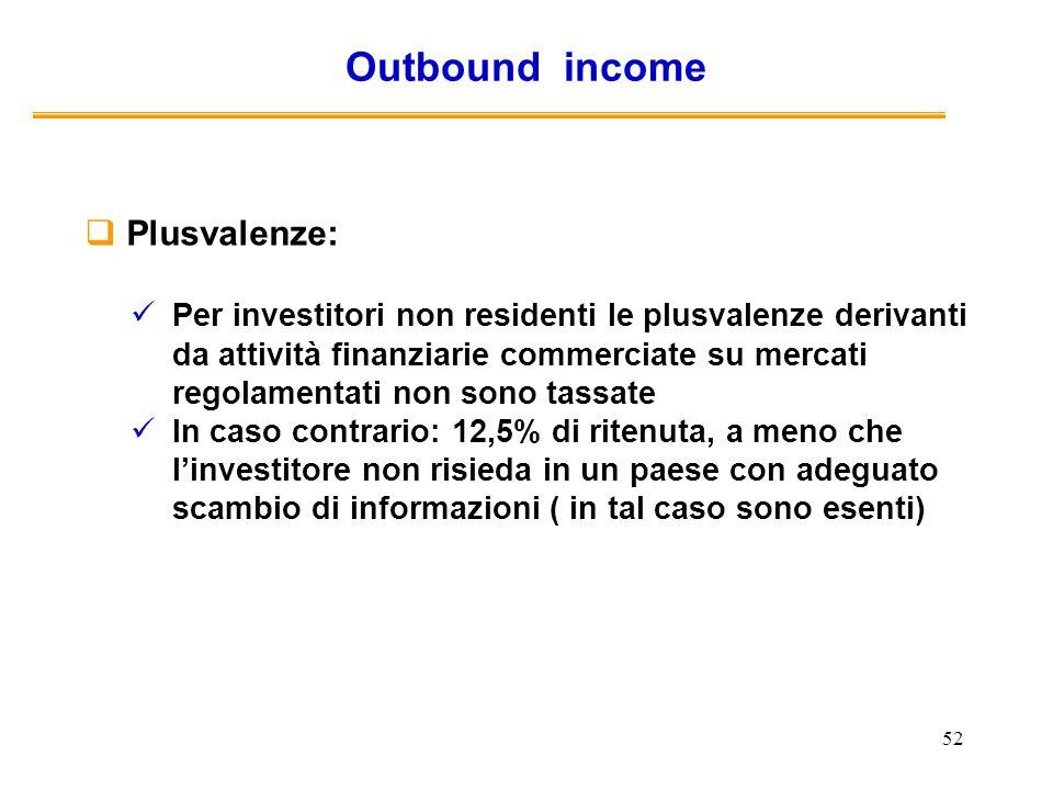 52 Outbound income Plusvalenze: Per investitori non residenti le plusvalenze derivanti da attività finanziarie commerciate su mercati regolamentati no