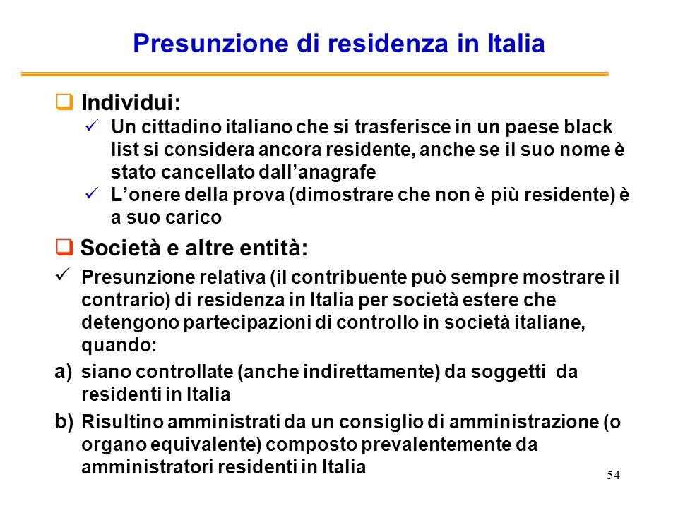 54 Presunzione di residenza in Italia Individui: Un cittadino italiano che si trasferisce in un paese black list si considera ancora residente, anche