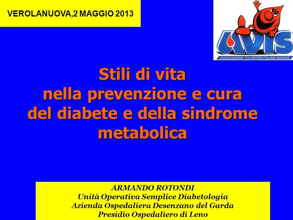 Stili di vita nella prevenzione e cura del diabete e della sindrome metabolica ARMANDO ROTONDI Unità Operativa Semplice Diabetologia Azienda Ospedalie
