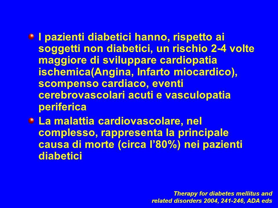 I pazienti diabetici hanno, rispetto ai soggetti non diabetici, un rischio 2-4 volte maggiore di sviluppare cardiopatia ischemica(Angina, Infarto mioc