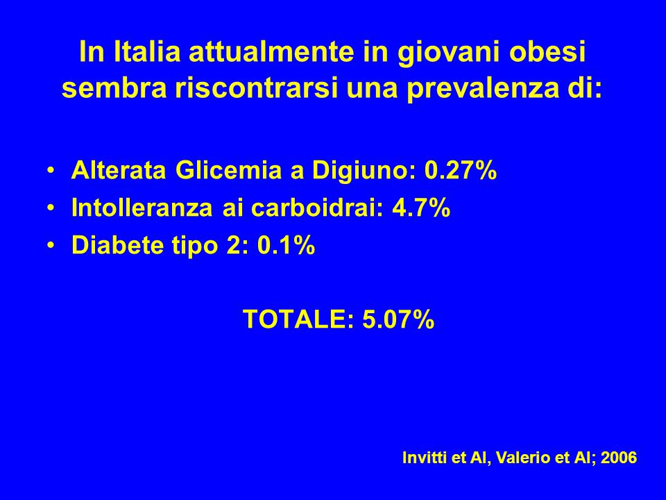 In Italia attualmente in giovani obesi sembra riscontrarsi una prevalenza di: Alterata Glicemia a Digiuno: 0.27% Intolleranza ai carboidrai: 4.7% Diab