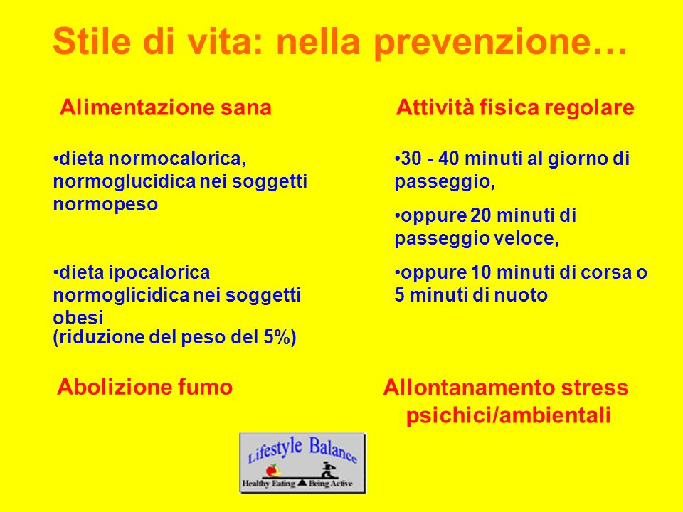 Alimentazione sanaAttività fisica regolare dieta normocalorica, normoglucidica nei soggetti normopeso dieta ipocalorica normoglicidica nei soggetti ob