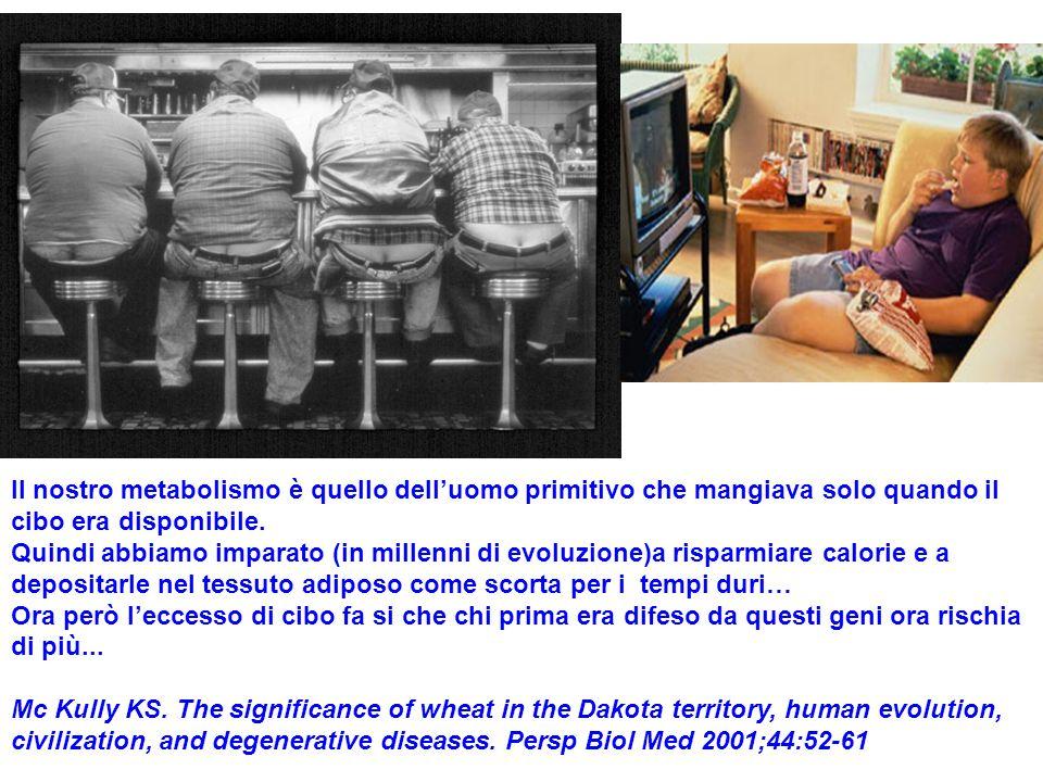 Il nostro metabolismo è quello delluomo primitivo che mangiava solo quando il cibo era disponibile. Quindi abbiamo imparato (in millenni di evoluzione