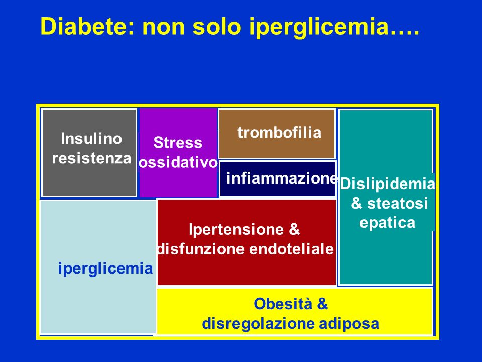 Diabete: non solo iperglicemia…. Obesità & disregolazione adiposa Ipertensione & disfunzione endoteliale trombofilia iperglicemia Insulino resistenza