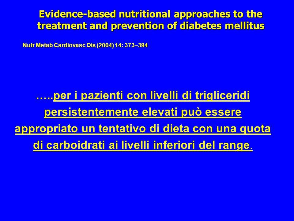 …..per i pazienti con livelli di trigliceridi persistentemente elevati può essere appropriato un tentativo di dieta con una quota di carboidrati ai li