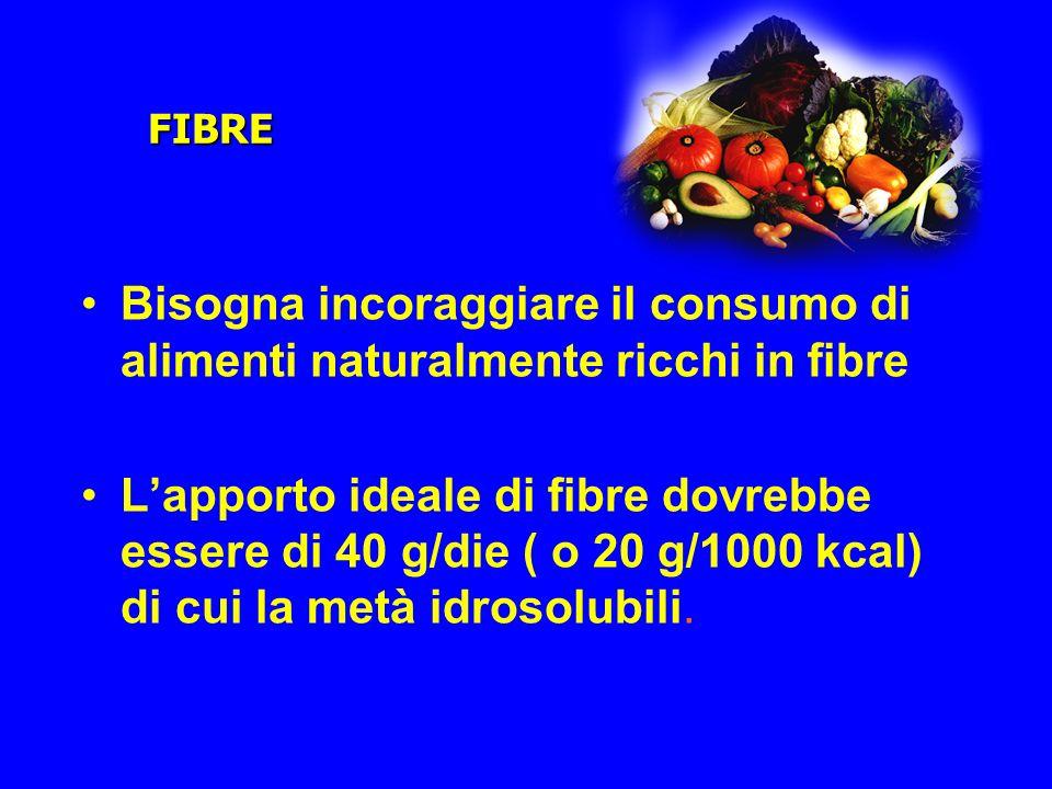 FIBRE Bisogna incoraggiare il consumo di alimenti naturalmente ricchi in fibre Lapporto ideale di fibre dovrebbe essere di 40 g/die ( o 20 g/1000 kcal