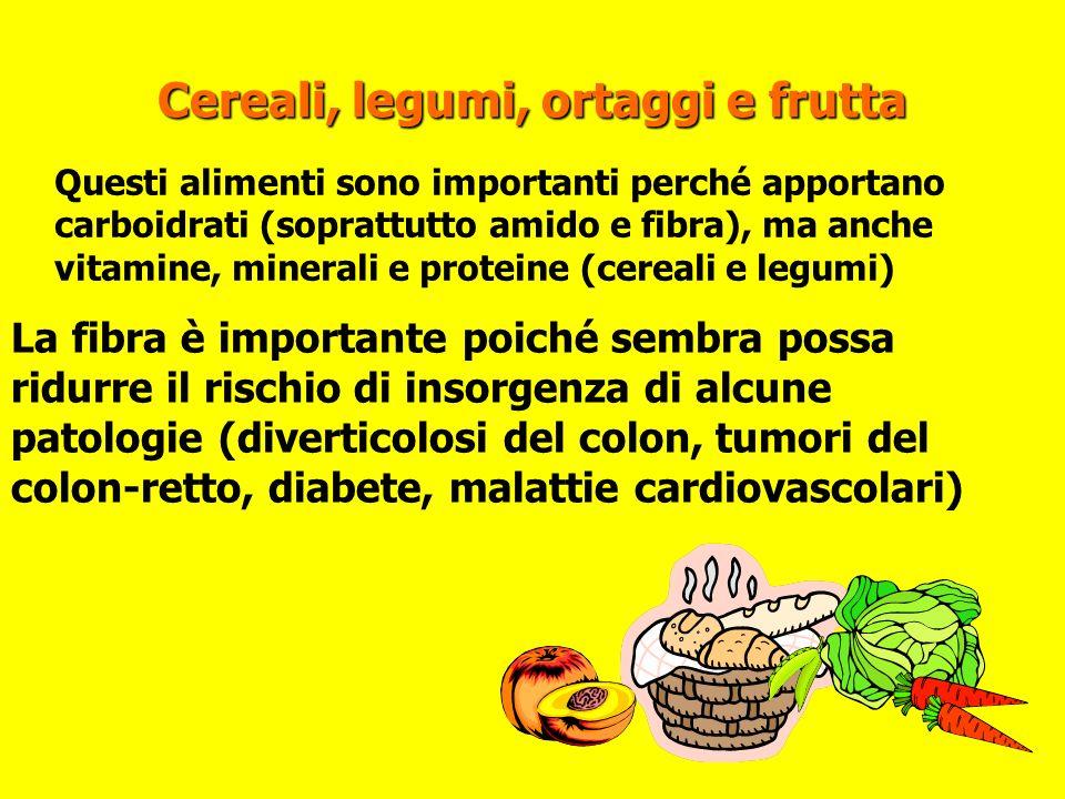 Cereali, legumi, ortaggi e frutta Questi alimenti sono importanti perché apportano carboidrati (soprattutto amido e fibra), ma anche vitamine, mineral